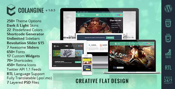 Colangine – Creative Flat WordPress Theme
