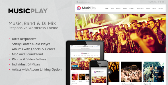 MusicPlay – Music & DJ Responsive WordPress Theme