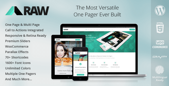 RAW – One Page Multi-Purpose WordPress Theme