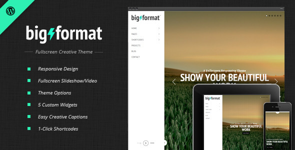 BigFormat – Responsive Fullscreen WordPress Theme
