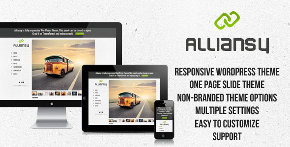 ALLIANSY – Responsive One-Slide WordPress Theme