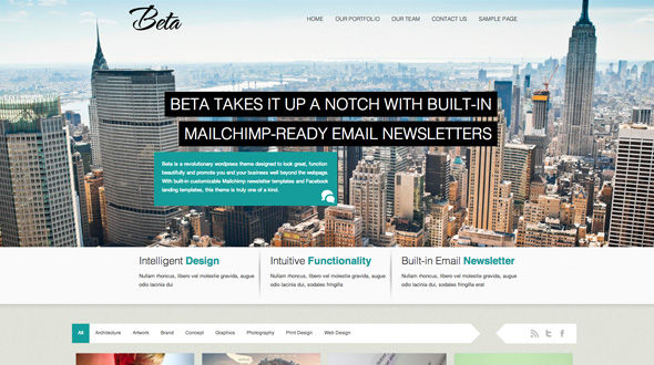Beta – HTML5 Responsive Theme With Built-in Email Newsletter