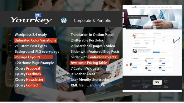 Yourkey – Corporate and Portfolio WP Theme