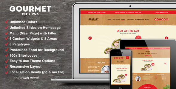 Gourmet – Restaurant Bar Hotel WordPress Theme