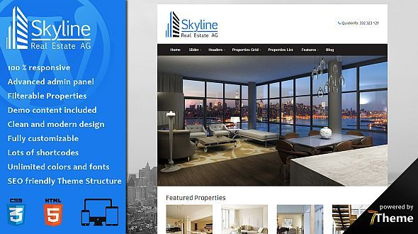 Skyline responsive Real Estate WordPress Theme