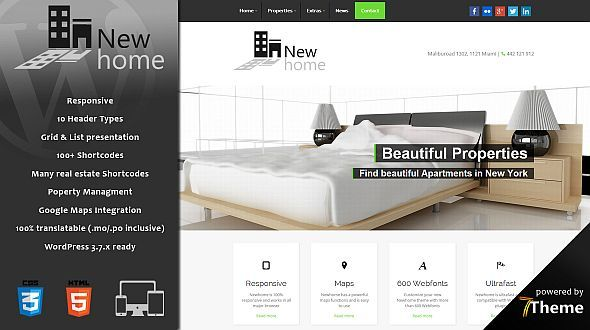 Newhome – a responsive Real Estate WordPress Theme