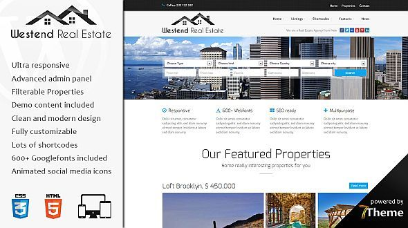 Westend – a powerful WordPress Real Estate Theme