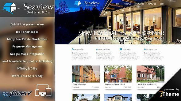 Seaview – a responsive WordPress Real Estate Theme