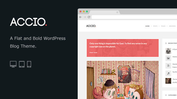 Accio – Flat and Bold WordPress Blog Theme