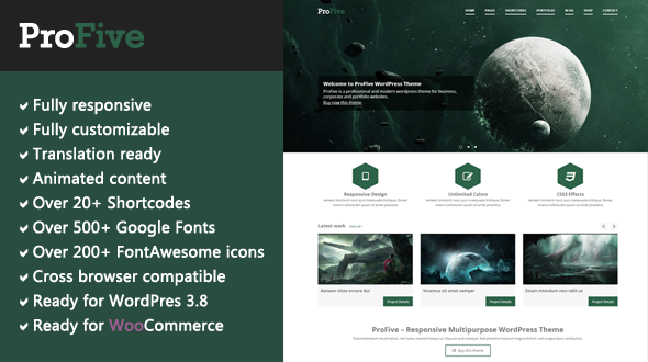 ProFive – Responsive Multipurpose WordPress Theme