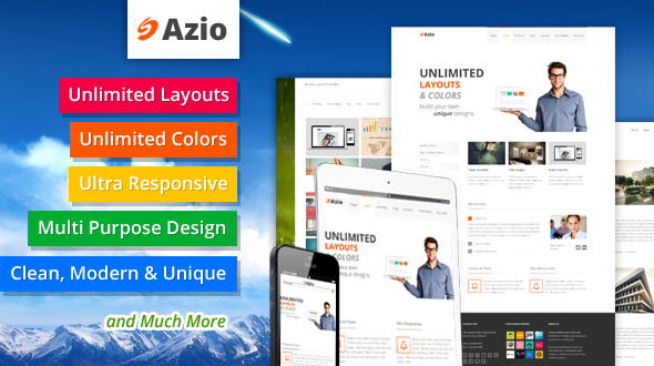 Azio – Multi Purpose Responsive Unlimited Layouts Clean Unique WordPress Theme