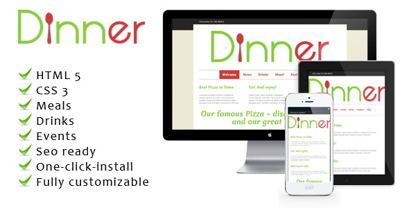 Dinner – a unique, colorful WordPress restaurant theme