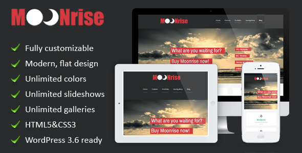 Moonrise – a flat WordPress theme