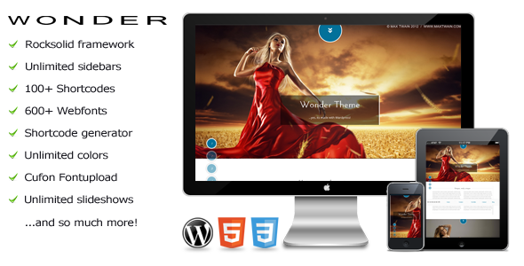 Wonder – a full screen parallax WordPress theme