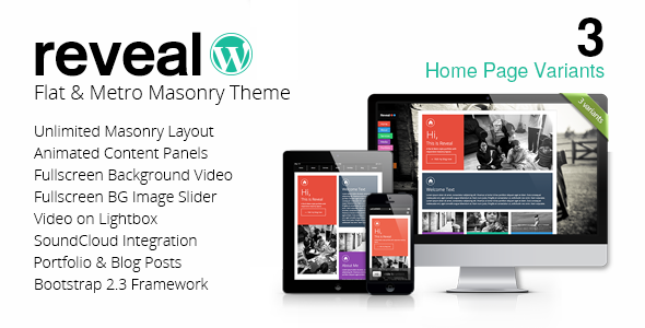 Reveal – Flat & Metro Masonry WordPress Theme