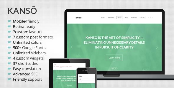 Kanso – Clean One-Page Parallax WordPress Theme