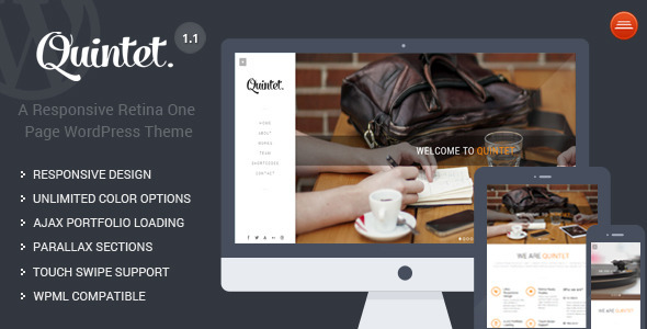 Quintet – Responsive One Page Parallax Theme
