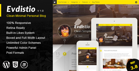 Evdistio – Responsive Clean Minimalist Blog Theme