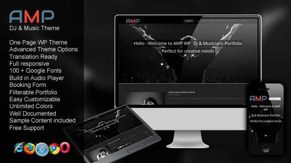Amp WP – DJ Music One Page Portfolio