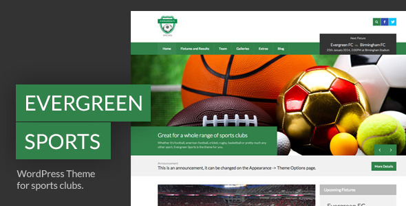Evergreen Sports – WP Theme for Sports Clubs