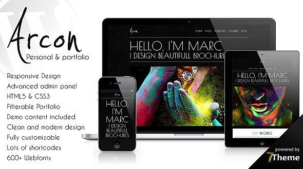 Arcon – Beautiful Personal Portfolio WordPress Theme
