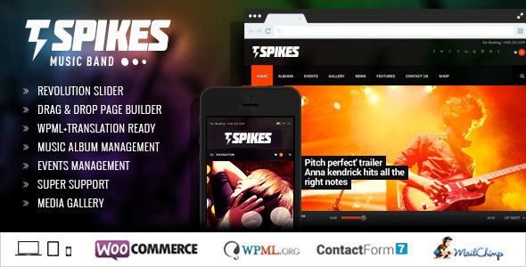 Spikes – Music Band WordPress Theme