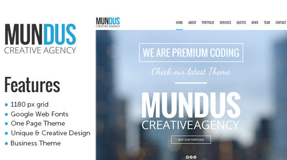 Mundus – A Business One Page WordPress Theme