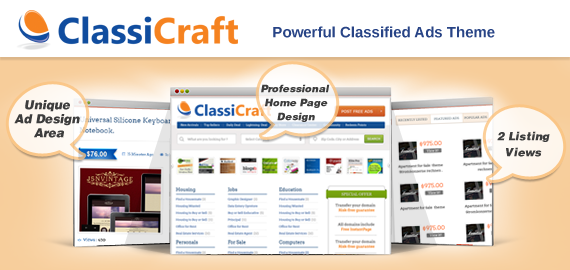 ClassiCraft Classified Ad Listing WordPress Theme