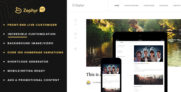 Retina Responsive WordPress Blog – Zephyr