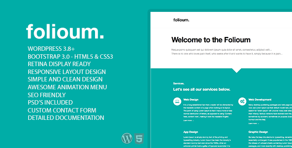Folioum – Responsive Portfolio WordPress Template
