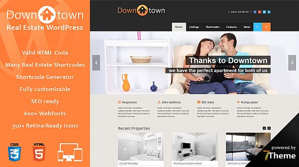 Downtown – a responsive WordPress Theme for Real Estate Agencies