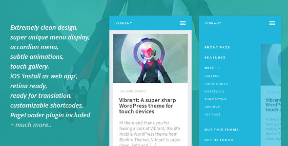 Vibrant: A super sharp WP theme for touch devices