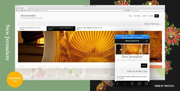 """""""New Jerusalem""""–Synagogue (Schul) WordPress Theme"""