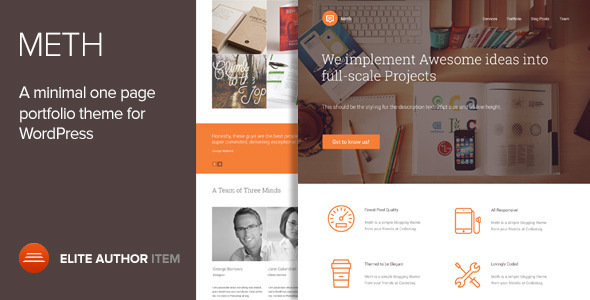 Meth – A Minimal One Page Portfolio Theme