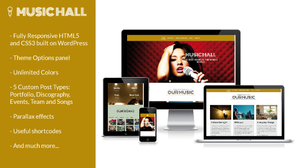 Music Hall – Responsive WordPress Theme for Musicians & Bands