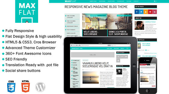 MaxFlat – Fully Responsive & flat design theme for blog or small magazine