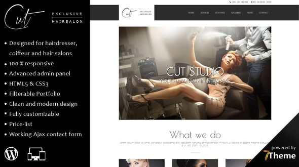 Cut – A Responsive WordPress Theme for Hair Salons