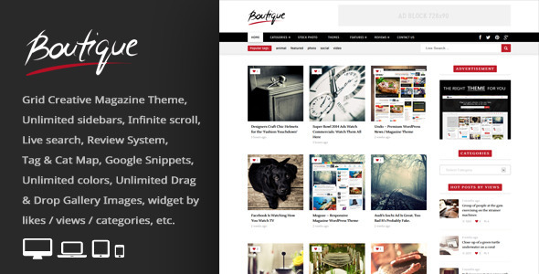 Boutique Grid = Creative Magazine WordPress Theme
