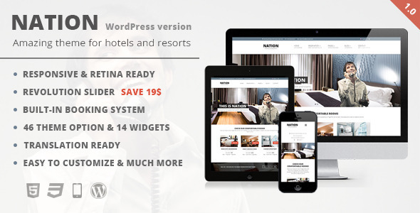 Nation Hotel – Responsive WordPress Theme
