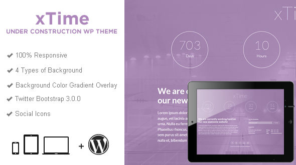 xTime Responsive Under Construction WordPress Theme