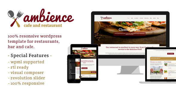 Ambience Responsive Restaurant WordPress Template