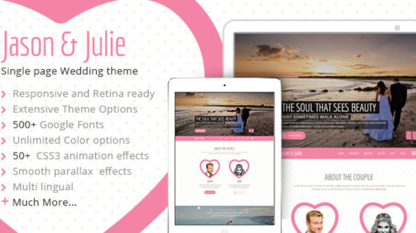 Jason & Julie WordPress Wedding Theme