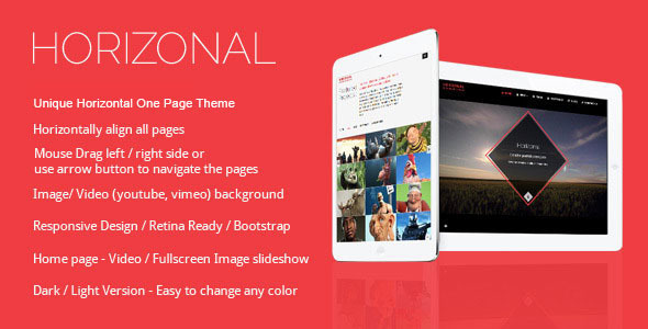 Horizonal – Single Page / One Page WordPress Theme