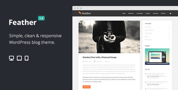 Feather Clean Flat Responsive WordPress Blog Theme