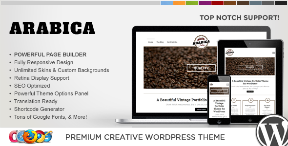 WP Arabica Responsive Creative WordPress Theme