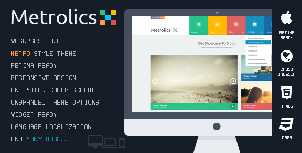 Metrolics – Responsive Metro WordPress Theme