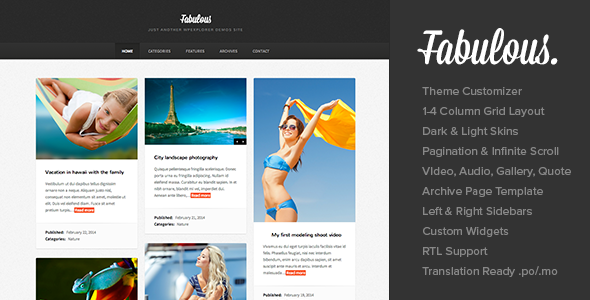 Fabulous – Responsive Masonry Blog WordPress Theme