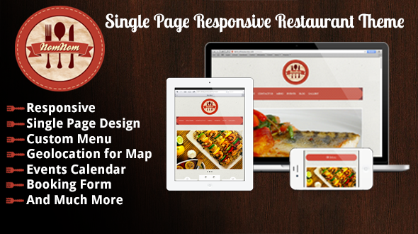 Nomnom Single Page Responsive Restaurant Theme