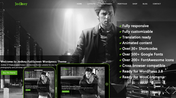 Jedkey – Responsive FullScreen WordPress Theme