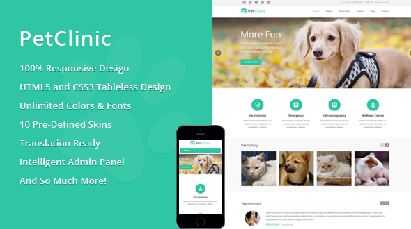 PetClinic – Responsive Veterinary WordPress Theme